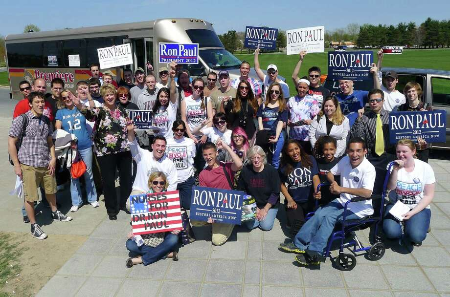 Ron Paul supporters gather at UAlbany prior to boarding a bus to hear Ron Paul speak at Cornell University in Ithaca N.Y. Thursday April 19, 2012. Photo: Michael P. Farrell, Albany Times Union / ONLINE_YES