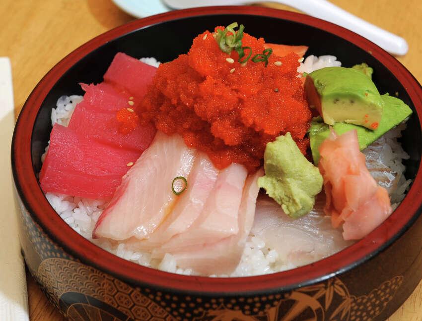 The Spicy Chirashi Don entree at Yoshi Sushi on Monday, Sept. 10, 2012 in Latham, N.Y. (Lori Van Buren / Times Union)