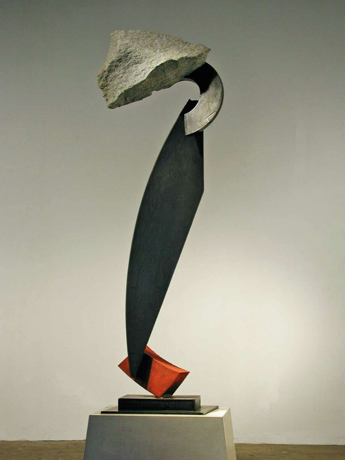 "John Van Alstine's Pique, 2002, granite, pigmented and sealed steel, 62"" x 24"" x 12"" (Courtesy Opalka Gallery)"
