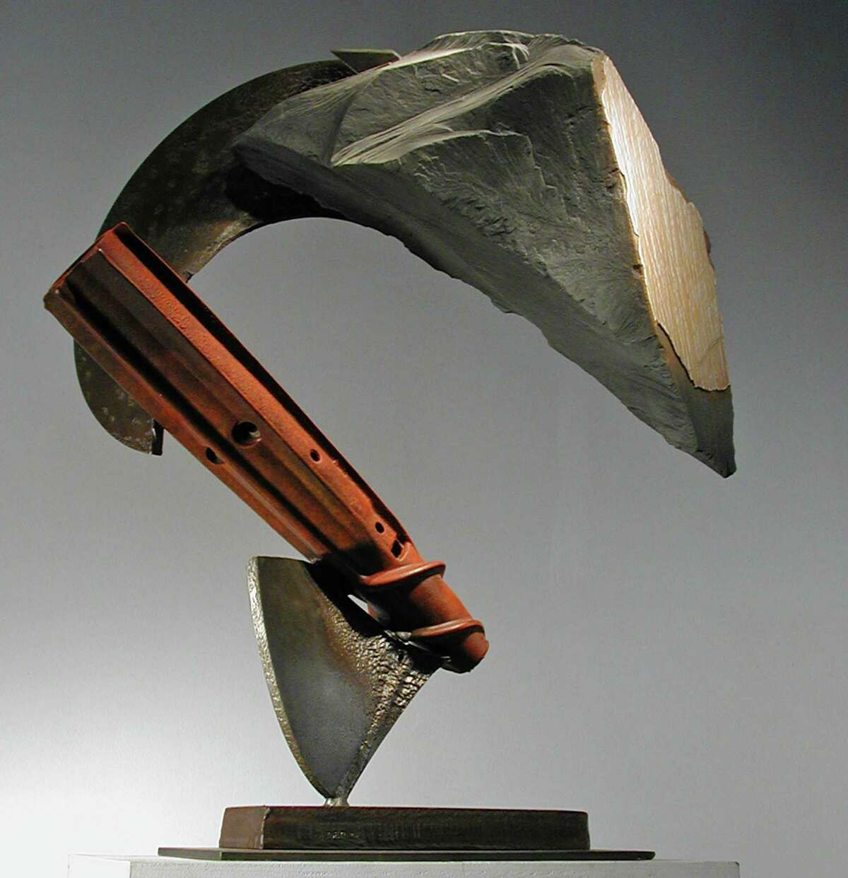 "John Van Alstine's Auger '05, 2005, slate, pigmented and sealed steel, 34"" x 28"" x 15"" (Courtesy Opalka Gallery)"