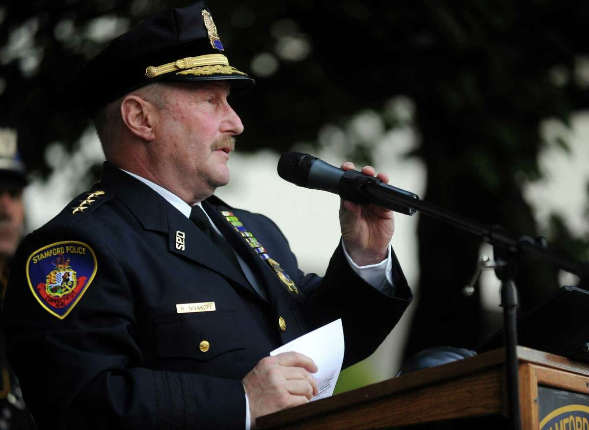 Stamford Police Chief Robert Nivakoff speaks during the 6th annual Stamford Police Department Memorial Parade on Friday, May 4, 2012. Nivakoff announced Thursday, Sept. 13, 2012 that he will retire at the end of the month.