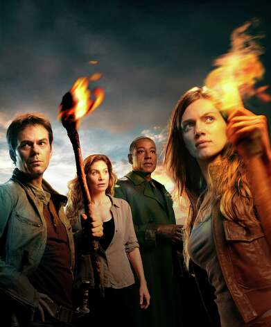 REVOLUTION -- Season:1 -- Pictured: (l-r) Billy Burke as Miles,  Elizabeth Mitchell as Rachel, Giancarlo Esposito as Lt. Neville, Tracy Spiridakos as Charlie -- (Photo by: Nino Munoz/NBC) Photo: NBC / 2012 NBCUniversal Media, LLC