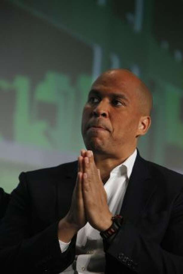 """Sen. Cory Booker, D-New Jersey, a potential Democratic candidate for president in 2020, spoke to Sen. Patty Murray's 2018 Golden Tennis Shoe awards luncheon. """"Change in America has never come from on high."""""""