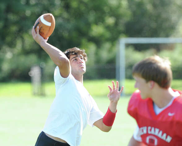 New Canaan High School Football quarterback and running back, Nick Cascione, a junior, during football practice at the school, Wednesday, Sept. 12, 2012. Photo: Bob Luckey / Greenwich Time
