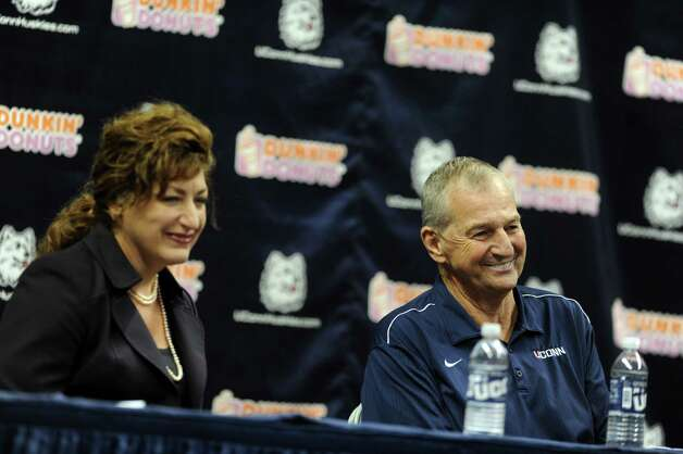 University of Connecticut President Susan Herbst and former UConn Coach Jim Calhoun smile during a media conference at Harry A.Gampel Pavilion in Storrs, Conn. on Thursday, Sept. 13, 2012. Photo: Autumn Driscoll / Connecticut Post