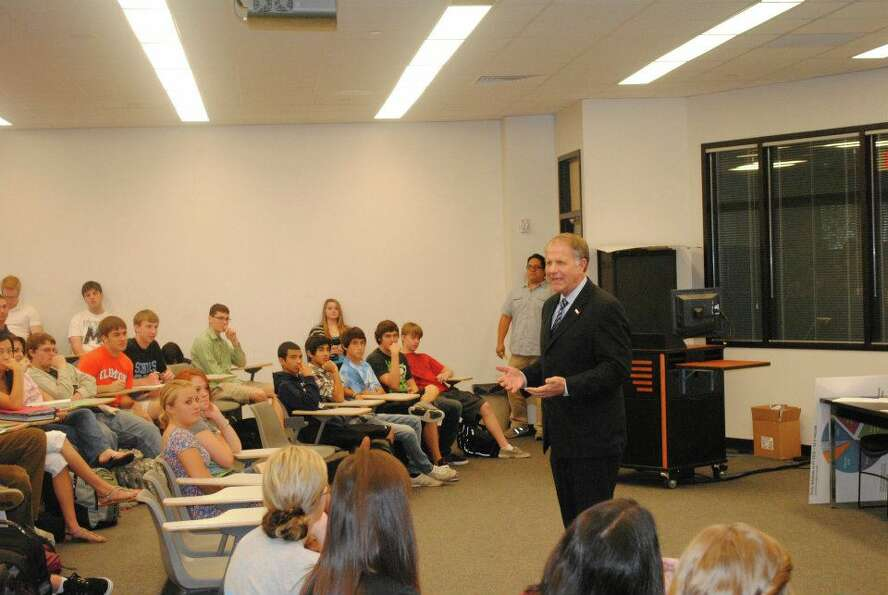 Rep. Ted Poe, R-Humble, speaks to a class at Kingwood High School on May 21, 2012.