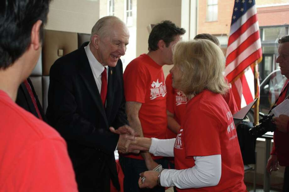Rep. Sam Johnson, R-Plano, at the red t-shirt campaign kick-off event in support of U.S. veterans.