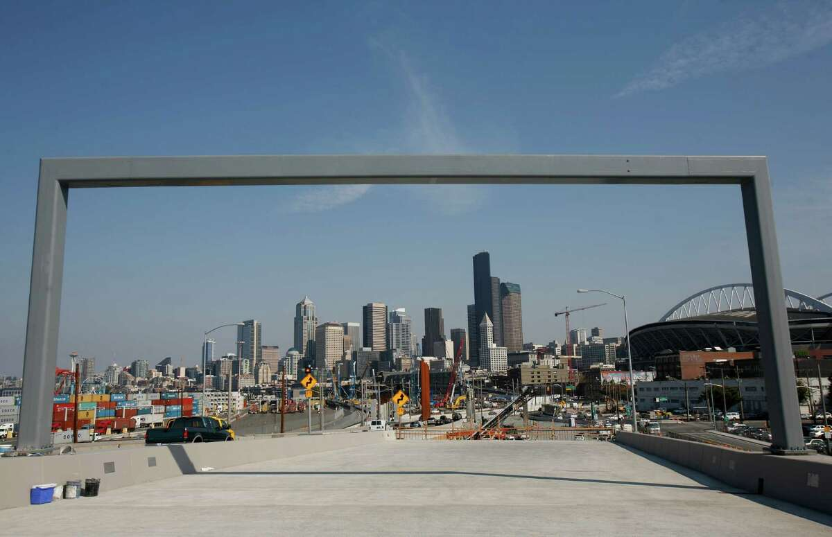 Part of a new section of northbound state Route 99 is shown on Thursday, just days before the new section of highway is scheduled to open through Seattle's Sodo neighborhood. It is scheduled to open on Monday.