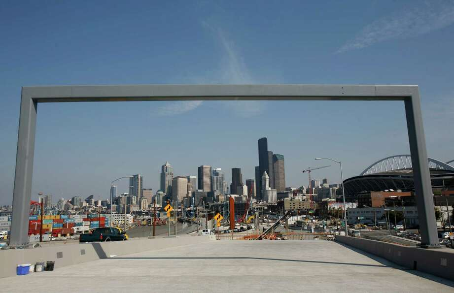 Part of a new section of northbound state Route 99 is shown on Thursday, just days before the new se