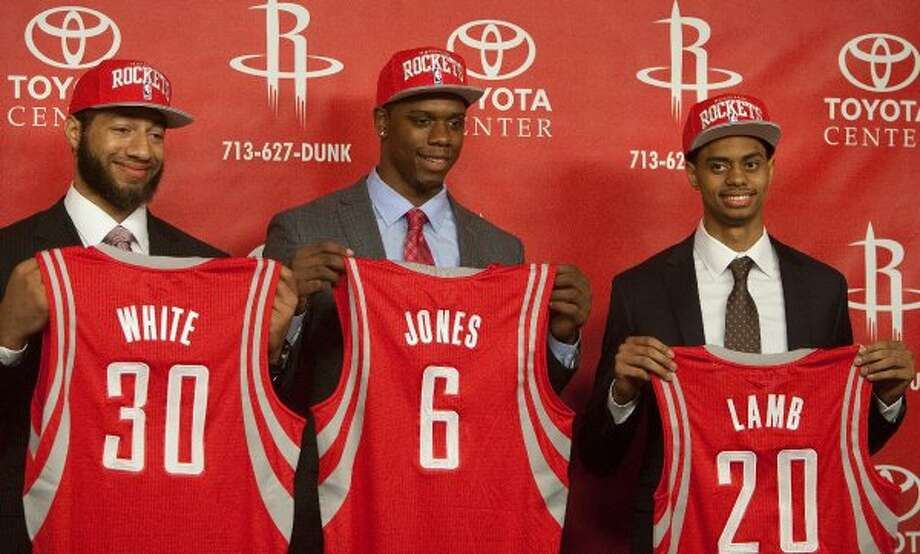 June 28: The Rockets draft (from left) Iowa State forward Royce White, Kentucky forward Terrence Jones and Connecticut guard Jeremy Lamb in the first round of the 2012 draft. Lamb was selected No. 12 overall, White was 16th, and Jones was 18th. (Cody Duty / Houston Chronicle)