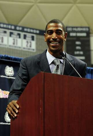 Kevin Ollie addresses the media after being named University of Connecticut's 18th head coach at Harry A.Gampel Pavilion in Storrs, Conn. on Thursday, Sept. 13, 2012. Photo: Autumn Driscoll / Connecticut Post