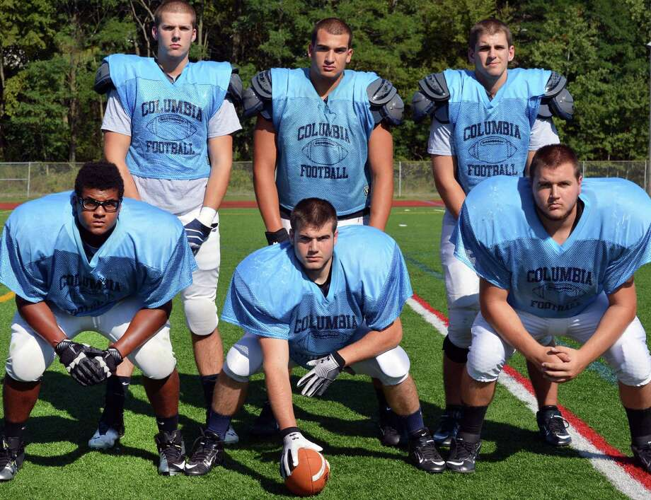 Columbia High's offensive linemen, top from left,  Jacob Faas, Dominic Desmonie, and Andrew Gawrys, bottom from left, Anthony Wasiyo, Anthony Gullo,  and Joe Freemantle during practice at the School in  East Greenbush Wednesday Sept. 12, 2012. (John Carl D'Annibale / Times Union) Photo: John Carl D'Annibale / 00019215A
