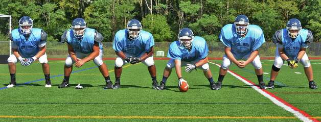 Columbia High's offensive linemen, from left,  Jacob Faas, Dominic Desmonie, Anthony Wasiyo, Anthony Gullo, Joe Freemantle and Andrew Gawrys during practice at the School in  East Greenbush Wednesday Sept. 12, 2012. (John Carl D'Annibale / Times Union) Photo: John Carl D'Annibale / 00019215A