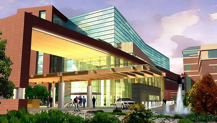 An architectural rendering of the front of Stamford Hospital after the first phase of the expansion plan.  The phase will include expanded Emergency Department with ancillary support services in the parking lot of south of the Carl and Dorothy Bennett Cancer Center, in addition to public amenities and a concourse connecting the new building to the existing facility. Photo: Contributed Photo / Stamford Advocate Contributed