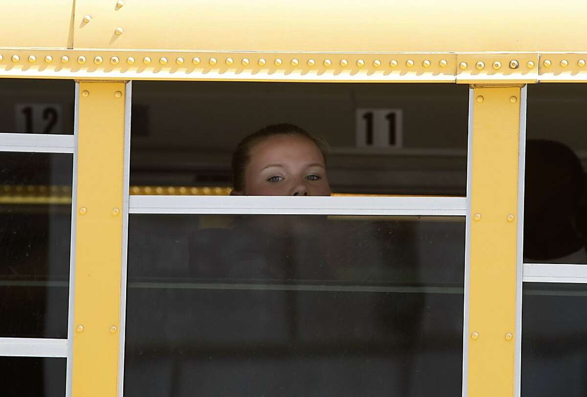 """Lina Laroski, 13 years old, from Mission High School waits to leave after seeing the movie """"Bully"""" at Herbst Theater in San Francisco, Calif., on Thursday, September 13, 2012."""