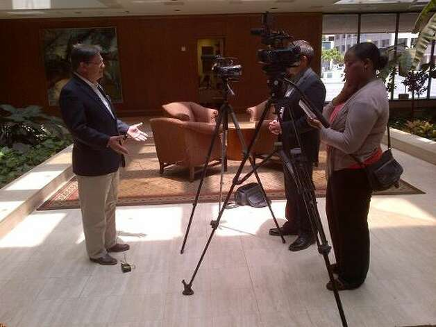 "Rep. Francisco ""Quico"" Canseco conducts an interview while on a tour designed to show the benefits of greater American energy production. (Rep. Canseco Twitter feed)"
