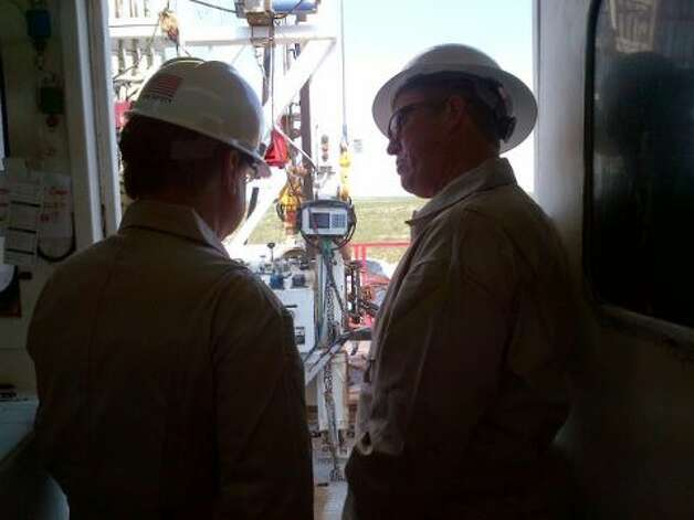Rep. Francisco Canseco tours a rig to learn more about American energy production. (Rep. Canseco Twitter feed)