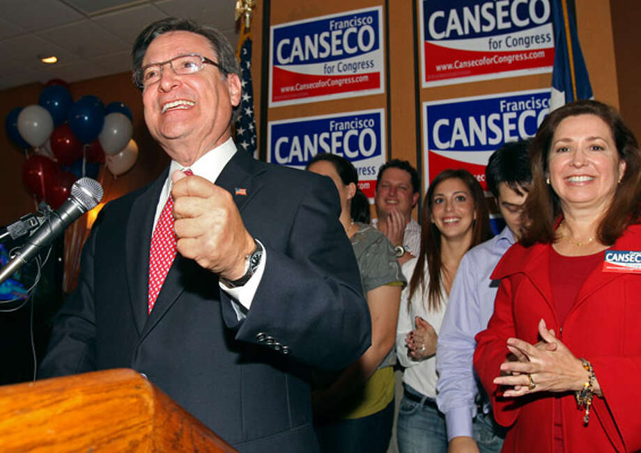 A victorious Quico Canseco on Election Night 2010. (Express-News photo)
