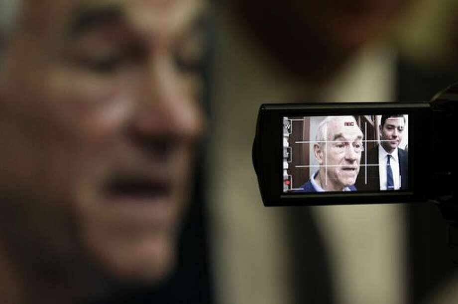 Ron Paul live -- and in the camcorder viewfinder. (AP)