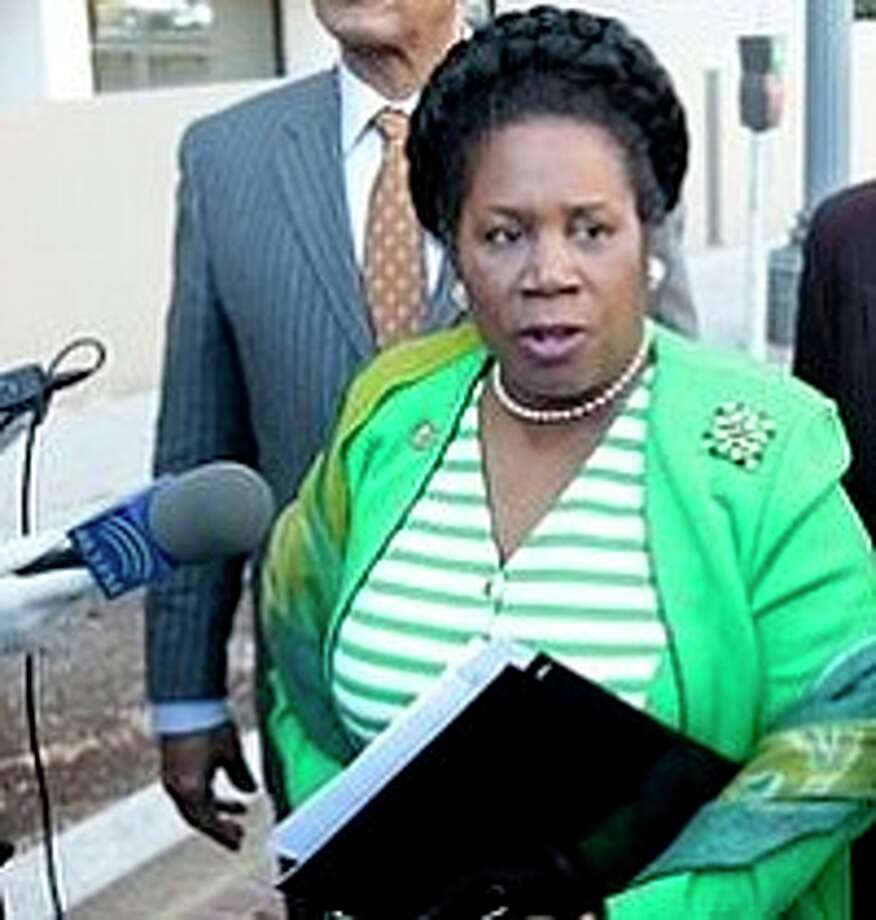 Members of the Congressional Black Caucus, from left, Chairman Rep. Emanuel Cleaver II, D-Mo., Rep. Sheila Jackson Lee, D-Texas, Rep. John Conyers, D-Mich., and Rep. Barbara Lee, D-Calif. , meet with reporters outside the Libyan Embassy in Washington, Tuesday, March 1, 2011. Photo: AP