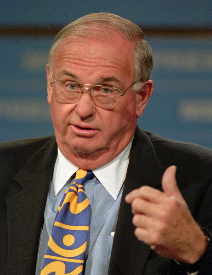 Former Connecticut Gov. Lowell P. Weicker Jr.  gestures while appearing on NBC's Meet the Press in Washington in this Aug. 20, 1995 file photo. Photo: J. SCOTT APPLEWHITE,  (AP Photo/J.Scott Applewhite) / AP1995 Associated Press