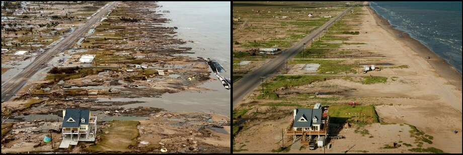 Ike was only a Category 2 storm but brought damage more characteristic of a Category 4 thanks to a devastating storm surge that wiped out entire communities, including Gilchrist, where the yellow house belonging to Warren and Pam Adams was one of the only structures remaining after the storm. These photos were taken in 2008 and 2012.  Photo: Smiley N. Pool / Houston Chronicle