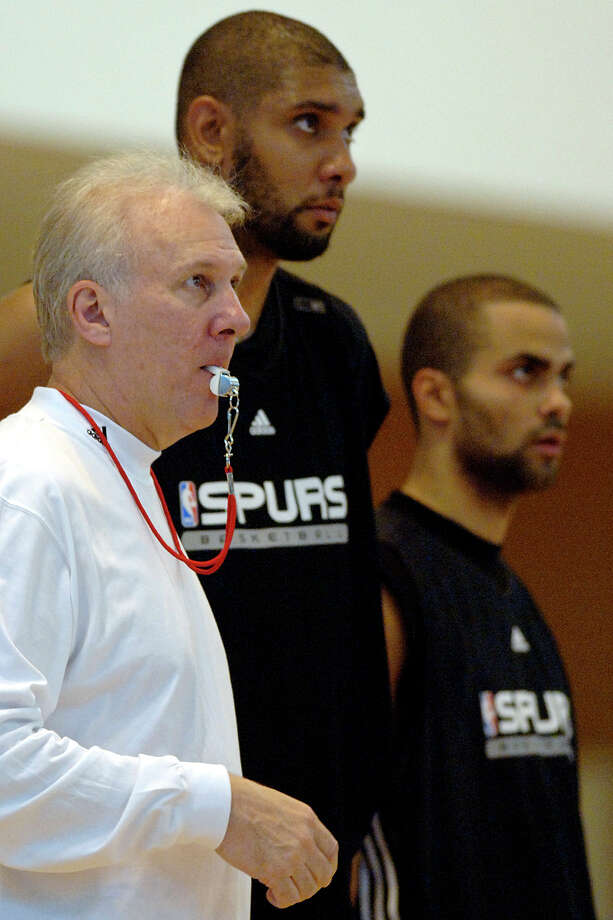 Spurs coach Gregg Popovich, forward Tim Duncan and guard Tony Parker (from left) look on during a team practice session in Lyon, central France, Sunday, Oct. 1, 2006. Photo: PATRICK GARDIN, AP / AP
