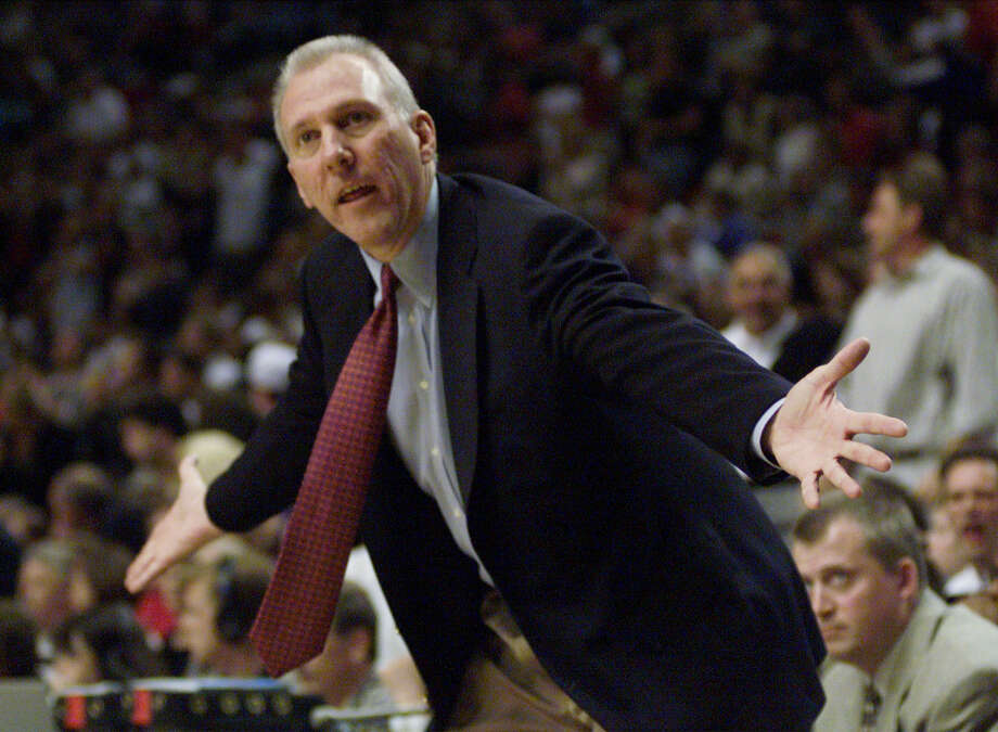 Gregg Popovich pleads with a referee during the fourth quarter of Game 4 of the Western Conference Finals on June 6, 1999 at the Rose Garden in Portland Oregon. Photo: DELCIA LOPEZ, SAN ANTONIO EXPRESS NEWS / EN