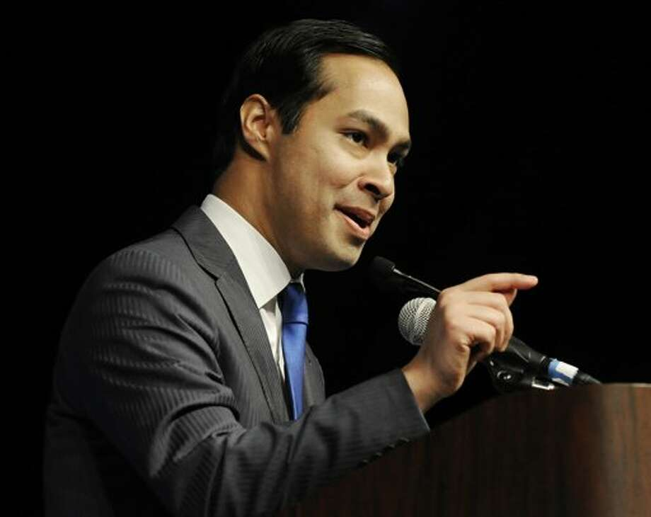 San Antonio Mayor Julian Castro gives the keynote address at the Texas Democratic Convention in Houston on June 8.