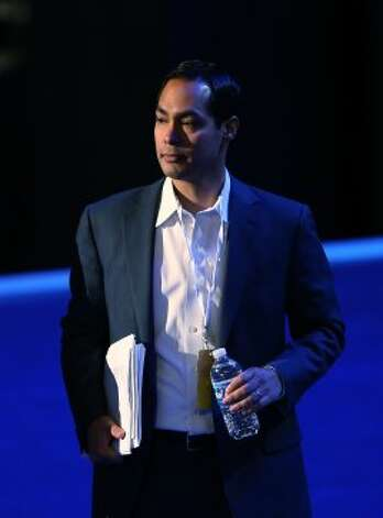 CHARLOTTE, NC - SEPTEMBER 02:  San Antonio Mayor Julian Castro stands on stage during preparations for the Democratic National Convention at Time Warner Cable Arena on September 2, 2012 in Charlotte, North Carolina. The DNC that will start on September 4 and run through September 7, will nominate U.S. President Barack Obama as the Democratic presidential candidate.   (Streeter Lecka / Getty Images)