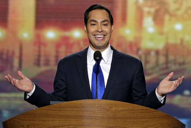 San Antonio Mayor Julian Castro addresses the Democratic National Convention in Charlotte, N.C., on Tuesday, Sept. 4, 2012. (AP Photo/J. Scott Applewhite) (J. Scott Applewhite / Associated Press)