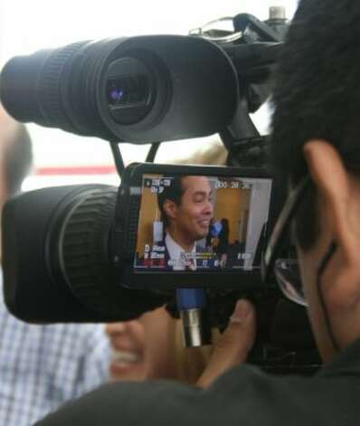 In the eye of the camera: Julian Castro. (Rick Dunham / Hearst Newspapers)