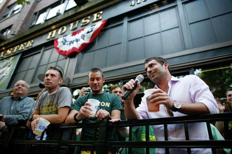 Arena investor Chris Hansen speaks after a toast. Photo: JOSHUA TRUJILLO / SEATTLEPI.COM