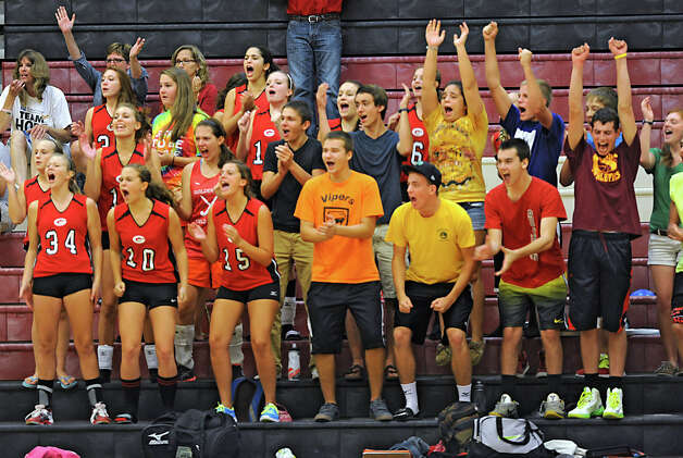 Guilderland fans cheer for their team during a volleyball match against Shenendehowa Thursday, Sept. 13, 2012 in Guilderland, N.Y. (Lori Van Buren / Times Union) Photo: Lori Van Buren