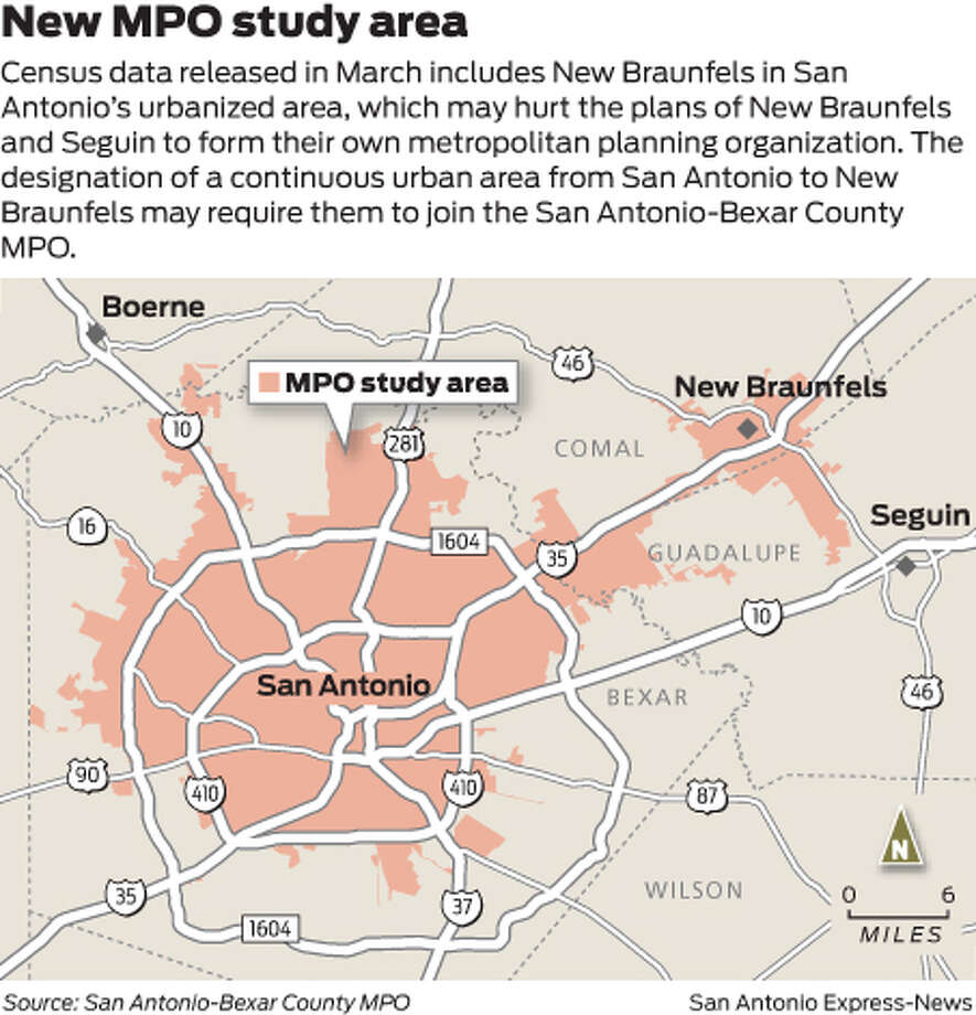 Census data released in March includes New Braunfels in San Antonio's urbanized area, which may hurt the plans of New Braunfels and Seguin to form their own metropolitan planning organization. The designation of a continuous urban area from San Antonio to New Braunfels may require them to join the San Antonio-Bexar County MPO.  Photo: Mike Fisher