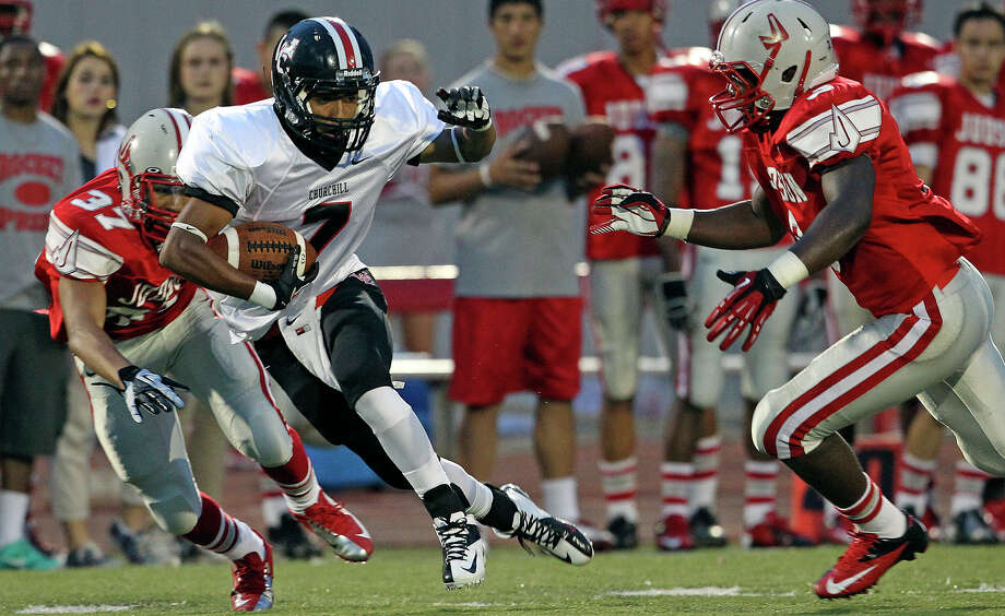 Charger receiver Justice King turns upfield after snaring a pass as Judson hosts Churchill at Rutledge Stadium on September 13, 2012. Photo: Tom Reel, Express-News / ©2012 San Antono Express-News