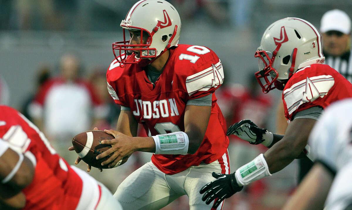 Rocket quarterback Rayjohn Austin-Ramsey looks away just before handing off as Judson hosts Churchill at Rutledge Stadium on September 13, 2012.