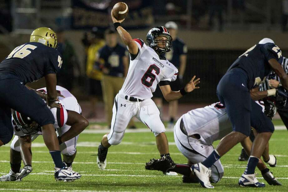 Westfield quarterback William Dedon fires a pass during the first half of a high school football game against Klein Collins at at Klein Memorial Stadium on Thursday, Sept. 13, 2012, in Houston. Photo: Smiley N. Pool, Houston Chronicle / © 2012  Houston Chronicle