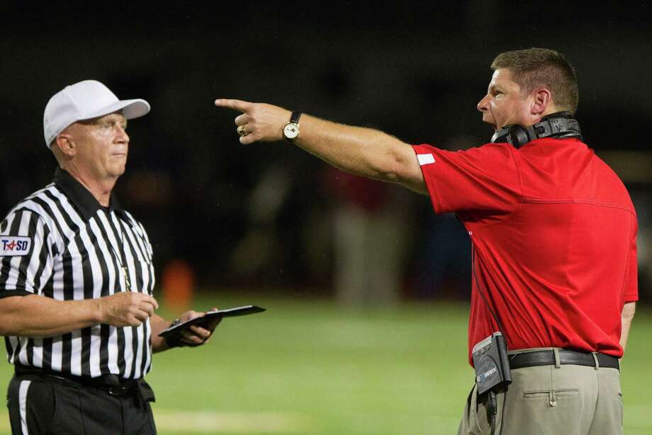 Westfield head coach Corby Meekins argues for a call during the first half of a high school football game against Klein Collins at at Klein Memorial Stadium on Thursday, Sept. 13, 2012, in Houston. Photo: Smiley N. Pool, Houston Chronicle / © 2012  Houston Chronicle