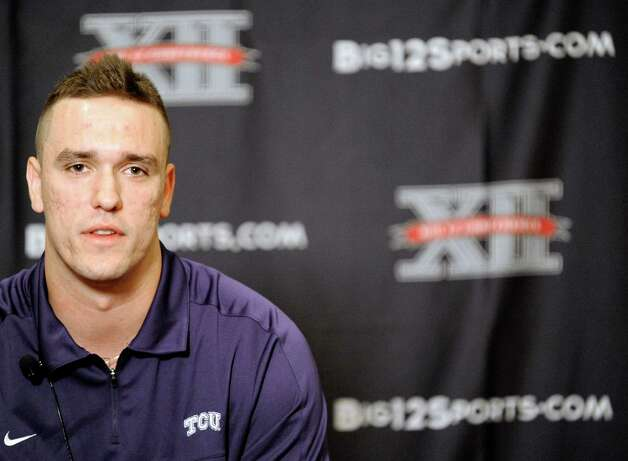 TCU quarterback Casey Pachall answers questions at NCAA college football Big 12 Media Days, Monday, July 23, 2012, in Dallas. (AP Photo/Matt Strasen) Photo: Matt Strasen, Associated Press / FR170476 AP