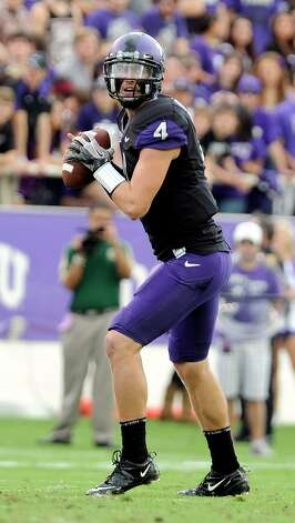 TCU quarterback Casey Pachall looks to pass during an NCAA college football game against Colorado St., Saturday, Nov. 19, 2011, in Fort Worth, Texas. (AP Photo/Matt Strasen) Photo: Matt Strasen, Associated Press / AP2011