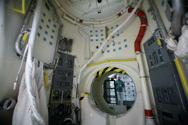 The air lock is shown as work continues to assemble the Space Shuttle Full Fuselage Trainer on Thursday, September 13 ,2012 at Seattle's Museum of Flight. Workers are busy preparing the trainer for its public debut, scheduled for Nov. 10, as the centerpiece of the museum's new Charles Simonyi Space Gallery. Photo: JOSHUA TRUJILLO / SEATTLEPI.COM