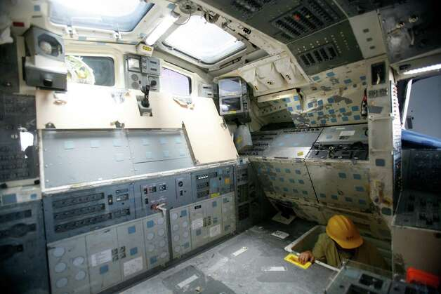 The flight deck is shown as work continues to assemble the Space Shuttle Full Fuselage Trainer on Thursday, September 13 ,2012 at Seattle's Museum of Flight. Workers are busy preparing the trainer for its public debut, scheduled for Nov. 10, as the centerpiece of the museum's new Charles Simonyi Space Gallery. Photo: JOSHUA TRUJILLO / SEATTLEPI.COM