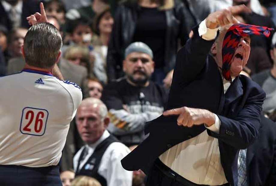 SPORTS    Spurs coach Greg Popovich gestures wildly as he gets tossed out of the game against Toronto by referee Bob Delaney. San Antonio Spurs versus the Toronto Raptors at the AT&T Center in San Antonio, December 28, 2007.      Tom Reel/Staff   December 28, 2007. Photo: TOM REEL, SAN ANTONIO EXPRESS-NEWS / SAN ANTONIO EXPRESS-NEWS
