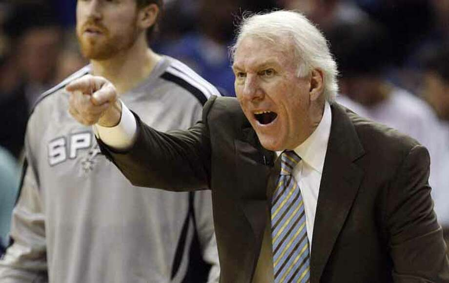 SPURS -- San Antonio Spurs Head Coach Gregg Popovich  during second half of game six of the Western Conference First Round at FedExForum, Friday, April 29, 2011. The lost to the Memphis Grizzlies 99-91 and the series 4-2. JERRY LARA/glara@express-news.net Photo: JERRY LARA, San Antonio Express-News / SAN ANTONIO EXPRESS-NEWS (NFS)