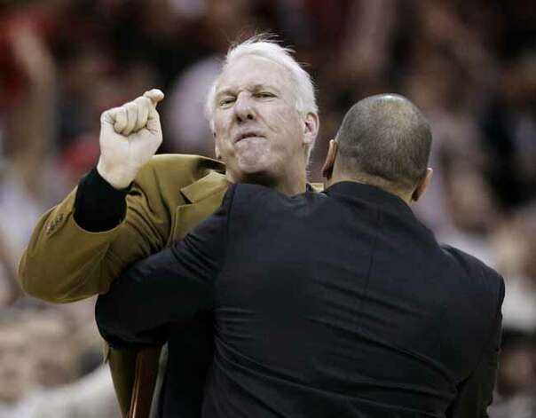 Gregg Popovich's temper is reaching mid-season form. (Photo from Jan. 2, 2007) Photo: Tony Dejak, AP / AP