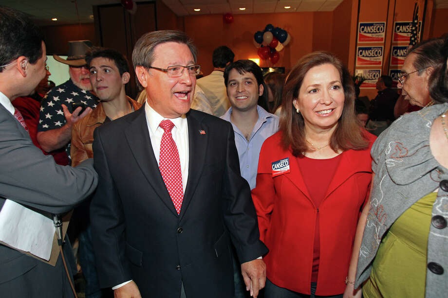 Francisco Canseco and his wife  Gloria Canseco celebrate his victory  in the District 23 Congressional District race over Ciro  Rodriguez at the Crowne Plaza San Antonio Airport  on  Nov. 2,  2010. Photo: TOM REEL, SAN ANTONIO EXPRESS-NEWS / treel@express-news.net