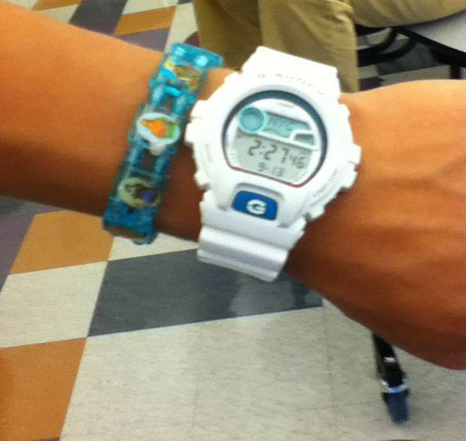 A white G-Shock watch worn by a Mohonasen student. Photo by Andrew Pugliese. Photo: New Visions: Journalism & Media Studies