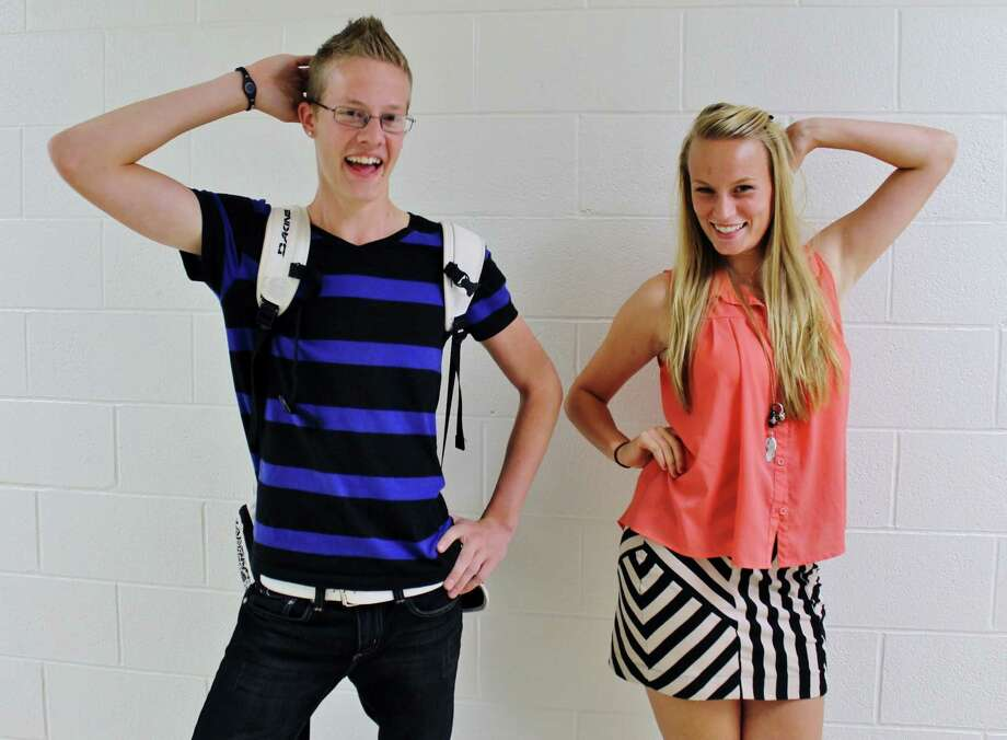 Berne Knox Westerlo seniors Laura Devine and Zach Rebeor show off their love of stripes! Photo by Alex Luciano. Photo: New Visions: Journalism & Media Studies