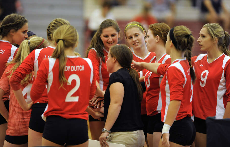 The Guilderland girl's volleyball team gets ready for a match against Shenendehowa Thursday, Sept. 1
